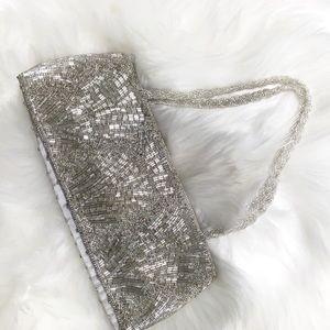 La Regalesmall silver sequin covered purse